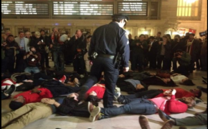an image of a die-in protest in NYC